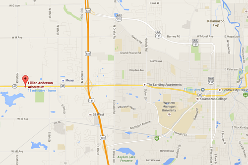 Google Maps showing the location of the Lillian Anderson Arboretum, located near 7787 West Main Street in Kalamazoo, Michigan.