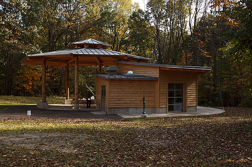 View of the Batts Pavilion in fall