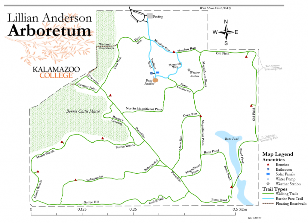 Lillian Anderson Arboretum trail map without contour lines