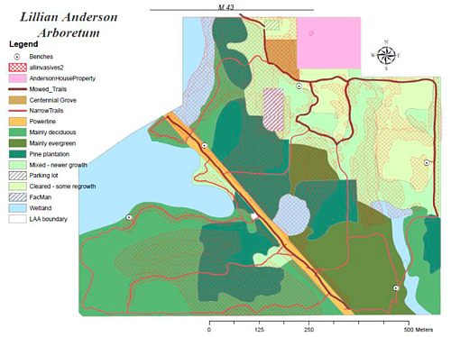 Map of the land cover the Lillian Anderson Arboretum