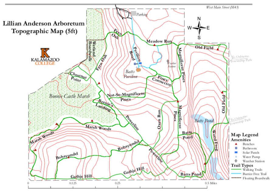 Lillian Anderson Arboretum Topographic trail map, 5 feet