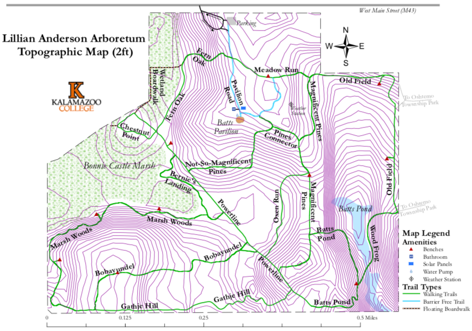 Lillian Anderson Arboretum Topographic trail map, 2 feet