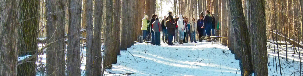 Photo of a group of Kalamazoo College students gathering on the Magnificent Pines trail in winter.