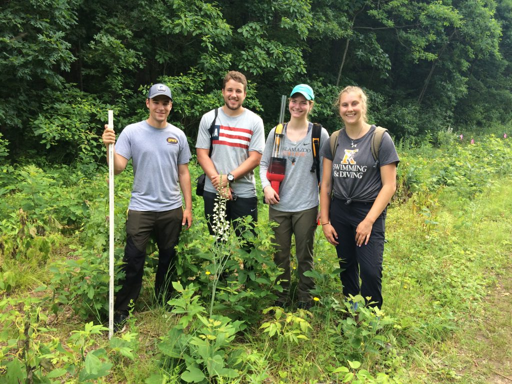 Four people standing near plants in a field.