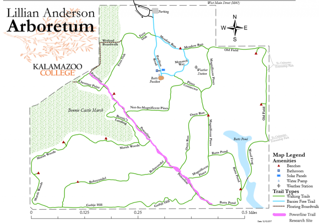 A map of the arboretum with the powerline trail highlighted.